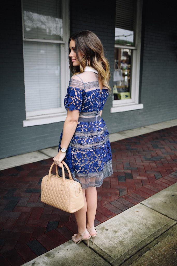 KBStyled: lace dress blue dress nude bag
